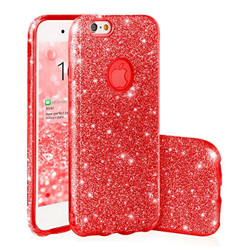 EGO ® Hülle Glitzer Schutzhülle für iPhone 6 6S, Rot Back Case Bumper Glänzend Transparente Luxus Bumper TPU Bling Weiche Glamour Handy Cover Silikon Glitter (3 Schicht Silikon Abdeckung + Hülle Glitzer + PP harter Überzug) Lipgloss