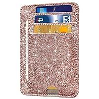 Santo Front Pocket Minimalist Leather with RFID Blocking Slim Card Holder Wallet for Men & Women (Glitter Rose Gold)