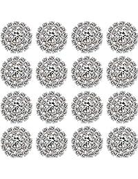 50 Adornos de Diamantes de Imitación Joyas de Diamantes de Imitación de Plata de Espalda Plana Accesorio de Botón de Cristal de Flor para Fabricación de Joyería de Bricolaje Hacer Decoración de Boda