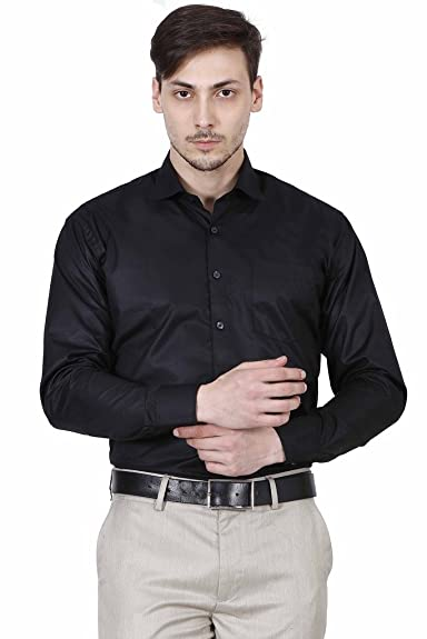 HUMAN STEPS MEN SOLID FORMAL BLACK SHIRT: Amazon.in: Shoes & Handbags