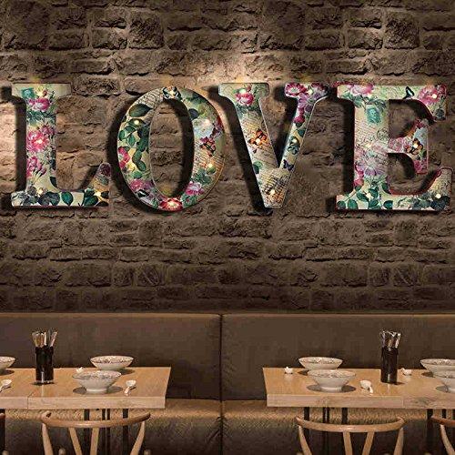 GDS - Lámpara de pared con diseño de camuflaje americano, estilo vintage, para cafetería, bar, cafetería, creativo, para el matrimonio, dormitorio, dormitorio, decoración de pared, letras y luces LED