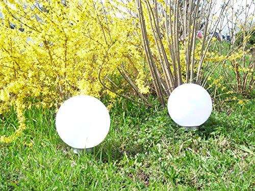2 x LED Solar-Kugelleuchte Marla Solar-Kugellampe mit Erdspieß, Durchmesser 30 cm, Gartenlampe Kugelleuchte