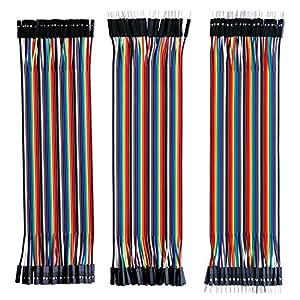 cables: Elegoo 120 Piezas de Cable DuPont, 40 Pines Macho-Hembra, 40 Pines Macho-Macho, ...