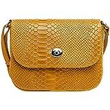Caspar TL783 Damen Leder Umhängetasche mit Kroko Muster, Farbe:camel, Größe:One Size