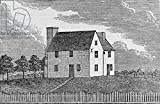 "Alu-Dibond-Bild 140 x 90 cm: ""Ancient House at Guilford, Connecticut, from Connecticut Historical Collections, by John Warner Barber, 1856 (engraving)"", Bild auf Alu-Dibond"