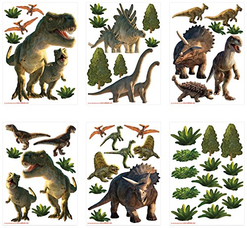 Walltastic Land der Dinosaurier, Kit zur Raumdekoration Wandaufkleber, Polypropylene, Multi, 6 Large Sheets