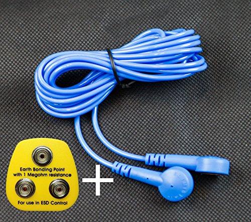 ESD MATTE-mit 2x 10mm Ohrstecker bei gegenüberliegenden Ecken blau Grounding Kit: Earthing Plug & Cord -