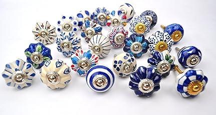 Karmakara Hand Painted Ceramic Pumpkin Knobs Cabinet Drawer Handle (Blue and White, Knob221) - Set of 25