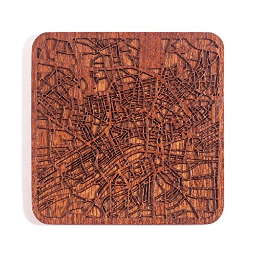 Frankfurt am Main Stadtplan Untersetzer, One piece, Sapele Wooden Coaster with city map, Multiple city optional, Handmade