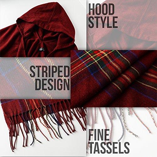 Ferand Poncho Cape Elegant für Damen, Stil Vorne Offen und Dicke für Herbst Winter Stil 6: Burgund