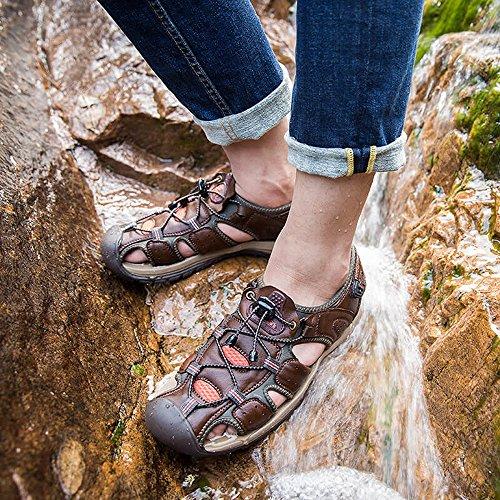 Gaorui Herren Jungen Sport- & Outdoorschuhe geschlossene Sandalen mit Kletteverschluss,klassische Sommerschuhe Gr. 38 bis 43 Braun