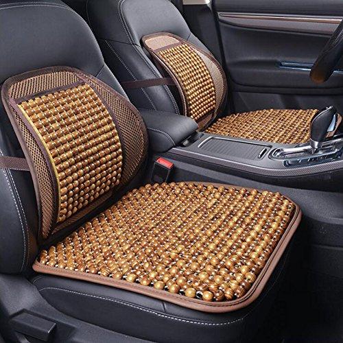 Massage-kissen-pad (QLL Sommer Auto Auto Sitz Bürostuhl Lordosenstütze Kissen Pad Holzperlen Massage Lendenkissen,Brown)