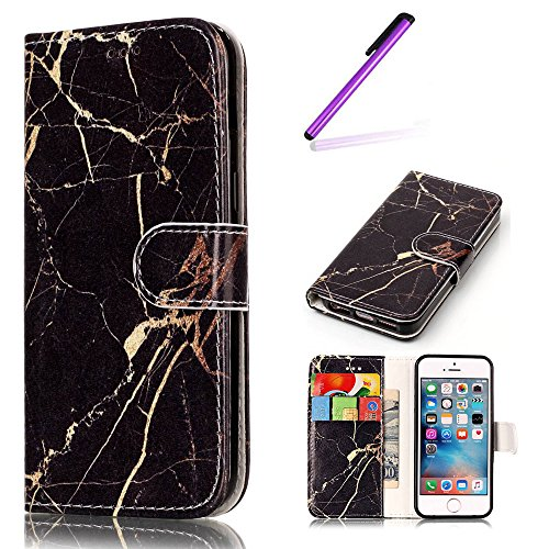 iPhone SE Case Cuir,Coque Etui pour iPhone SE,iPhone 5 5S Coque Portefeuille PU Cuir Etui,EMAXELERS iPhone 5 5S Leather Case Wallet Flip Protective Cover Protector,iPhone 5 5S Coque Dragonne Portefeui Q Marble 5
