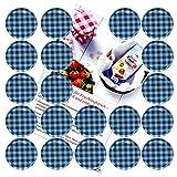 20er Set Deckel to 66a quadri bianchi e blu adatto per 125ML Occhiali incl. Diamante di zucchero gelier zauber ricettario