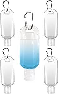 Lot de 5 bouteilles de voyage rechargeables pour d/ésinfectants pour les mains en plastique transparent vides avec mousqueton