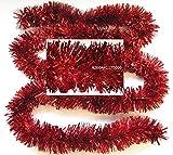 Festgirlande Rot Metallic Kunststoff 3m, D10cm, buschige Fransengirlande Deko