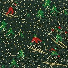 Caspari Vintersport svart jul skidåkning måncheon pappersbord servetter 20 i ett paket 33 cm kvadrat