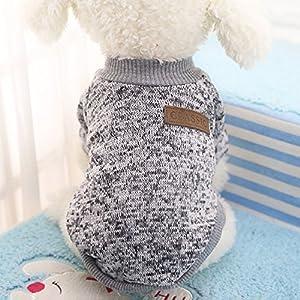 Idepet Haustier Katze Hund Pullover, warme Hund Pullover Cat Kleidung, Fleece Haustier Mantel für Welpen Small Medium Large Dog, Pink & grau (XS, Grau)