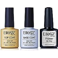 Elite99 Base Top Coat Semi Permanent Vernis à Ongles Vernis Semi Permanent UV LED Soak Off Nail Polish avec Primer Vernis gel 10ml
