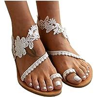 Sandales Plates d'été Femme Bohême Bout Ouvert en Sexy Dentelle Fleur Flip Flop Talon Basse Léger Pantoufles Chaussures…