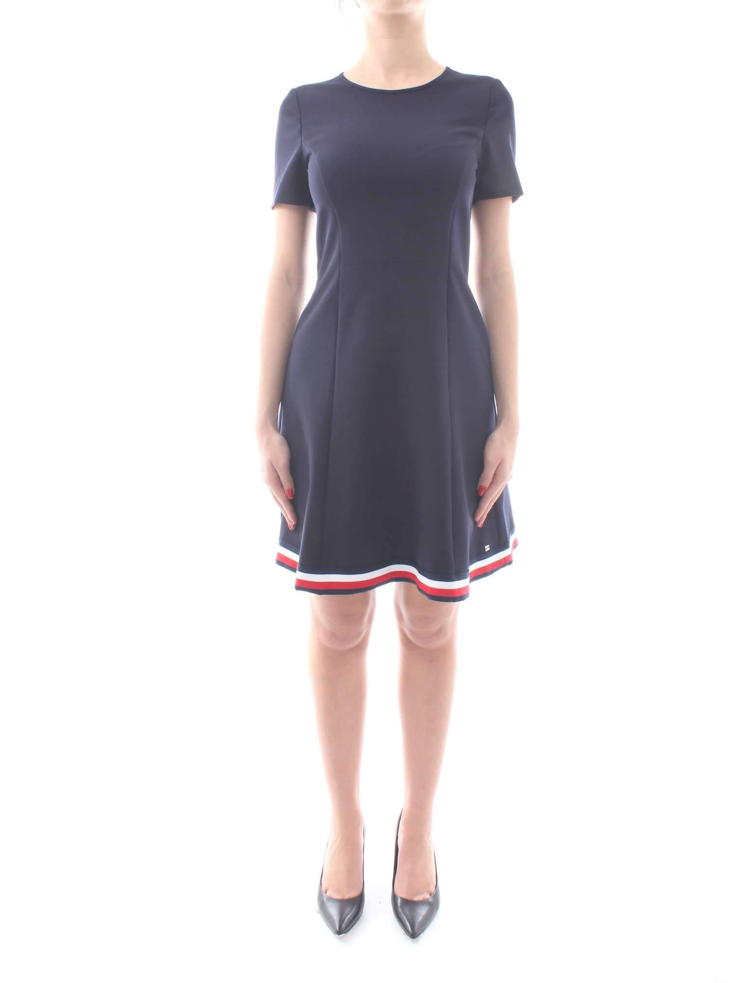 Tommy Hilfiger Angela Global STP Dress SS Slv Vestido para Mujer