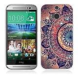 HTC One M8 / M8S Hülle Case, Fubaoda [Mandala blume] Ultra Dünn Handyhülle Cover Soft Premium-TPU Durchsichtige Schutzhülle Backcover Slimcase für HTC One M8 / M8S