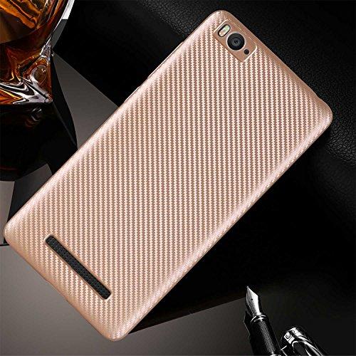 Guran® Hülle Für Xiaomi Mi 4i, Hohe Qualität Raffinierte aus Rutschfestem TPU Weich Case Kohlefaser Elastisch Kratzfeste Etui (Golden)