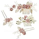 STOBOK 4 Pezzi Copricapo Set Fiore Rosa Perla Cristallo Pettine per Capelli da Sposa per Capelli da Sposa Copricapo Gioielli