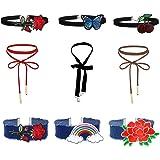 Mingjun 9PIECES ricamato pizzo floreale denim velluto girocollo elegante lace-up collana in stile gotico, per donne e ragazze