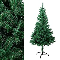 Azadx Green Christmas Tree, Artificial xmas Tree 4FT 5FT 6FT 7FT Size Choice Quality Indoor Xmas Decoration Plastic Tree with Metal Stand (6ft (180cm))