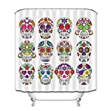 Unbekannt Sugar Skull Art Decor Print Badezimmer Duschvorhang Polyester Stoff Wasserdicht Extra Lang,180 * 180Cm