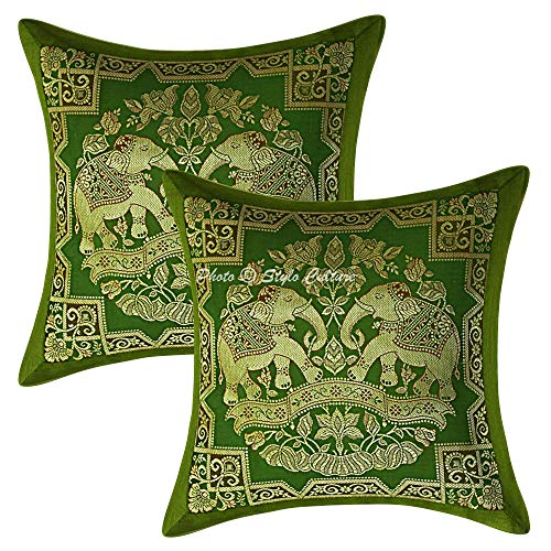 Stylo Culture Brocade Decorative Cushion Covers 12 Inch x 12 Inch Set of 2 Pc Elephant Couch Sofa Olive Green Gold Jacquard Banarsi Home Decor Floral for Diwali Square 30cm x 30cm