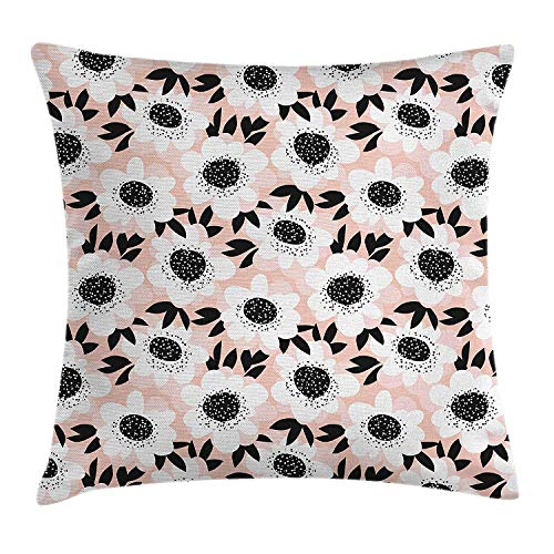 WHALE LANDY 18'X18' Flower Throw Pillow Cushion Cover, Elegance Floral Pattern with Cute Soft Pastel Toned Florets Graphic, Decorative Square Accent Pillow Case, Light Pink White Black