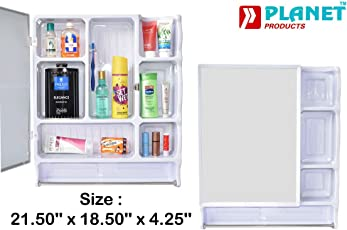 Planet Forever High Grade Multipurpose Bathroom Big Size Cabinet with Mirror - White