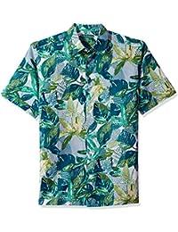 d06dddd318 Cubavera Men s Short Sleeve Linen-Blend Tropical Floral Print Button-Down  Shirt