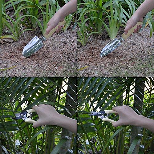GardenHome Set di attrezzi da giardino, 10pezzi:sgabello pieghevole, custodia, 5resistenti attrezzi da giardino in acciaio inox, 2cesoie e 1rotolo di 30metri di filo per legare le piante - 5