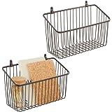 mDesign Zestaw 2x pojemne półki druciane do przechowywania – Metalowy organizer wiszący do kuchni, łazienki, przedpokoju, gar