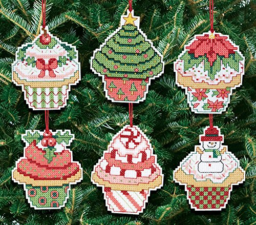 Christmas Ornaments Cupcake-Kit punto croce, Set da 6