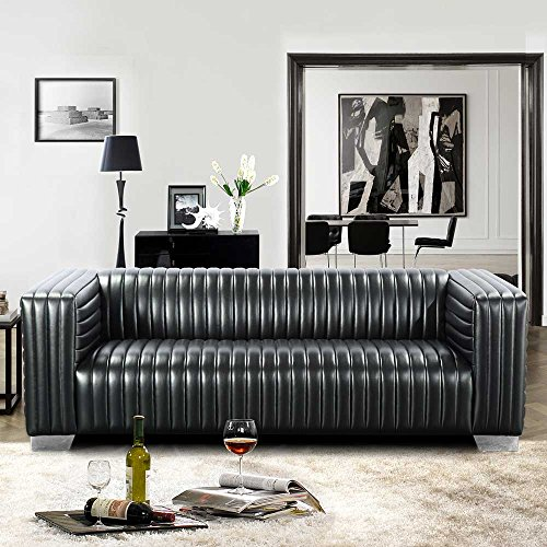 Pharao24 Couch in Schwarz Retro Style