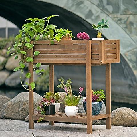 Type creux en bois massif fleur balcon plancher pot de fleurs cadre-A