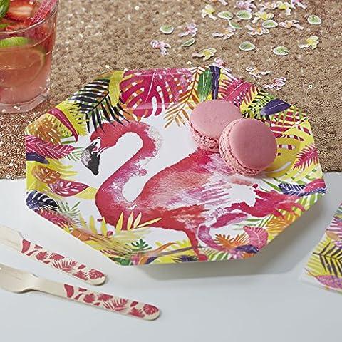 Ginger Ray Flamingo papier Assiettes x 8, idéal pour les soirées d'été, de barbecue et les soirées à thème hawaïen–Flamingo Fun
