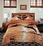 Alicemall Bettwäsche Set 4tlg aus 100% Baumwolle Ölgemälde 3D Delfine bei Sonnenuntergang Bettbezug 230x260cm mit Betttuch und 2 Kopfkissenbezüge