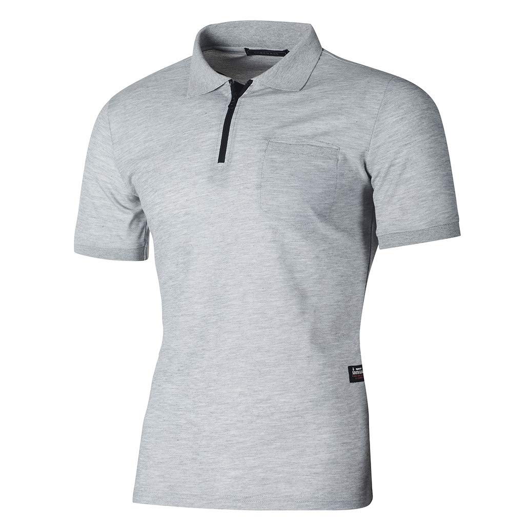 Longra Polo Uomo Camicetta da Uomo A Maniche Corte T Shirt Casual con Tasca Cerniera Maglietta Sportivi T Shirt Stretch Slim Fit da Uomo Casuale