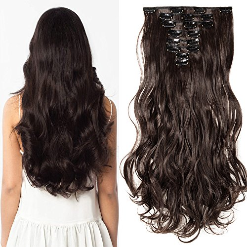 "Clip in Extensions wie Echthaar Dunkelbraun Haarteile 8 Tresssen günstig komplette Haarverlängerung Gewellt 24""(60cm)-140g"