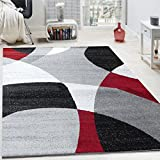 Designer Rug Short-pile Rug Modern Abstract Semi-circle Pattern In Red Grey, Size:120x170 cm