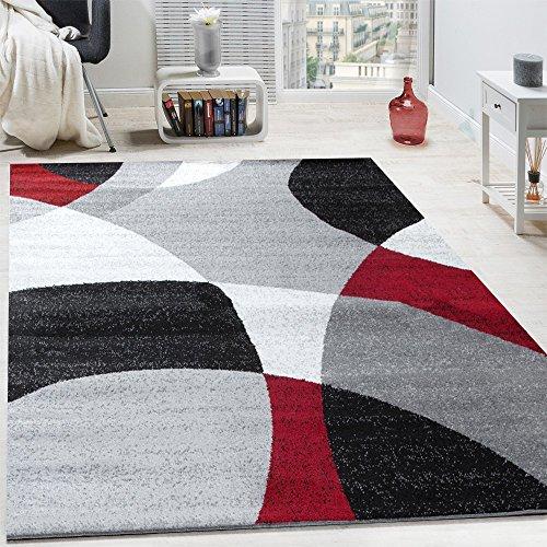 Tappeto di design pelo corto tappeto moderno motivo astratto semicerchi in rosso grigio, dimensione:80x150 cm
