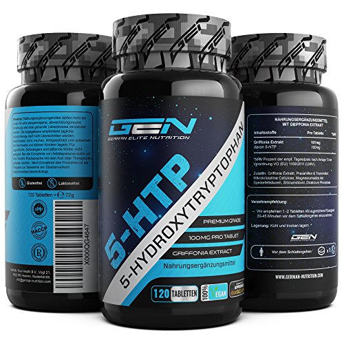 5 Htp 30 Kapseln (5-HTP - 120 Tabletten mit 100 mg - Premium Griffonia Samenextrakt mit 99% 5-HTP - Strong Serotonin Booster - Vegan - German Elite Nutrition)