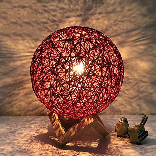 Moderne Tischlampe Schlafzimmer Nachttischlampe Warmes Licht Warm Kinderzimmer Ball Form Tischlampe, E27, 20 * 25 CM, Maximal 40 Watt, Rot -