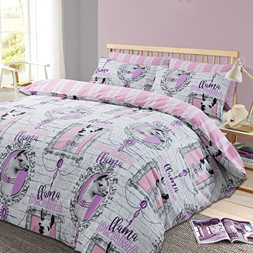 Dreamscene Llama Drama Duvet Cover with Pillowcase Animal Print Bedding Set – Stripe Pink Grey, King