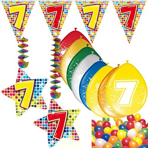 Carpeta 54-teiliges Partydeko Set * Zahl 7 * für Kindergeburtstag oder 7. Geburtstag mit Girlande, Rotorspiralen, Luftschlangen und vielen Luftballons